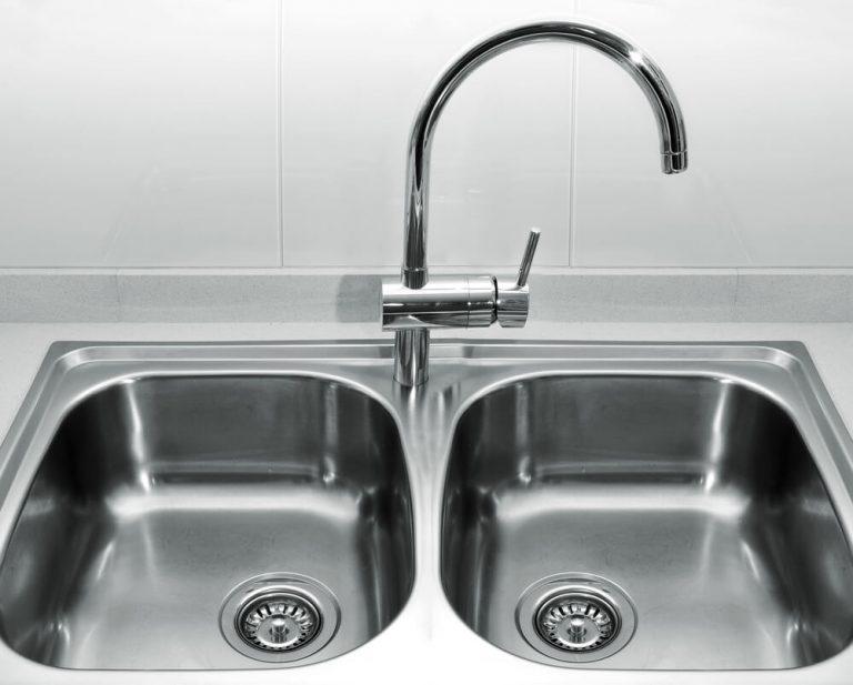 A Double bowl kitchen sink