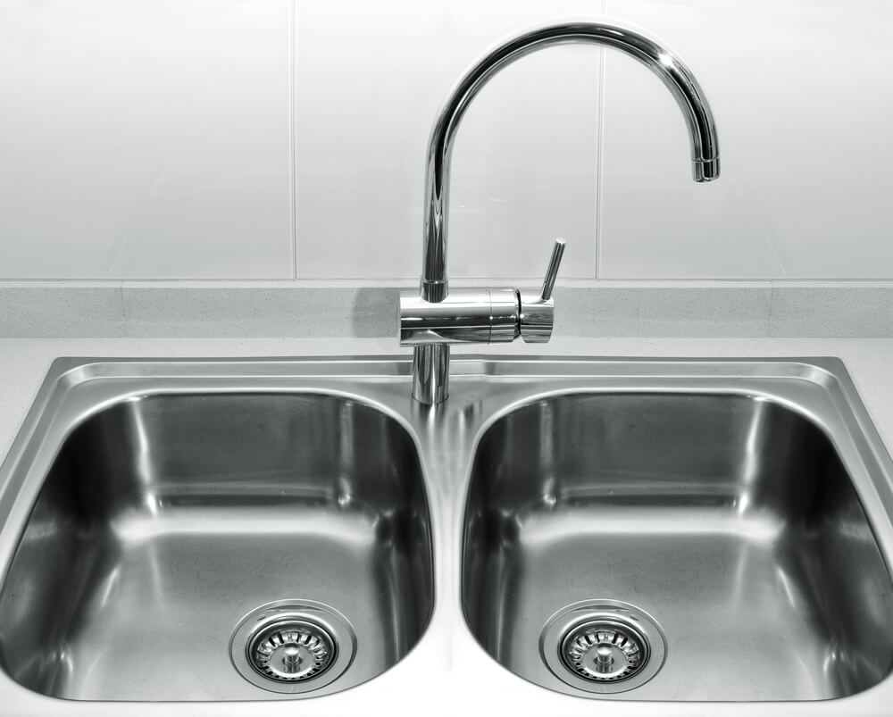 A Double bowl kitchen sink