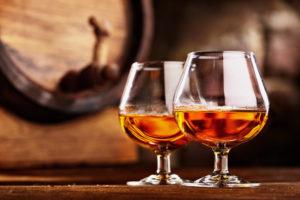 2 Glasses of Cognac Alcohol