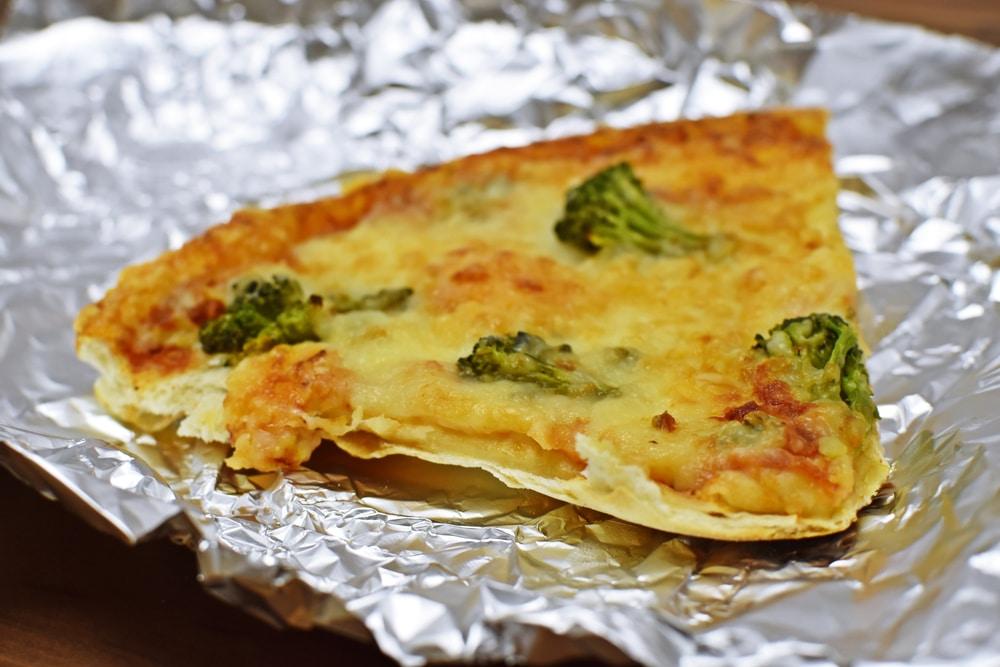 Pizza in aluminum foil