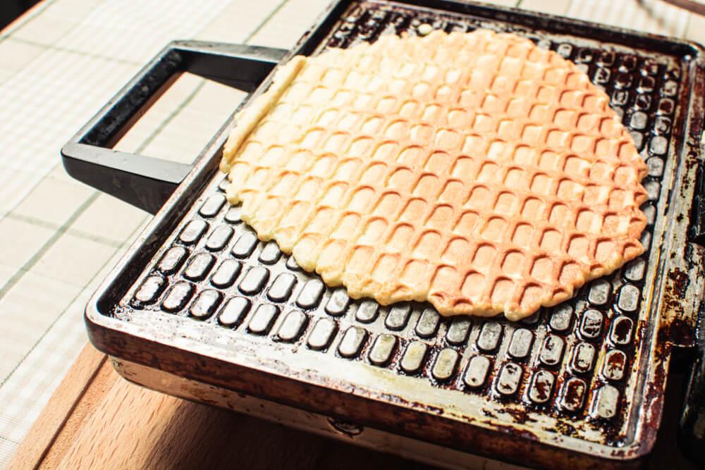 Thin waffles on a waffle iron